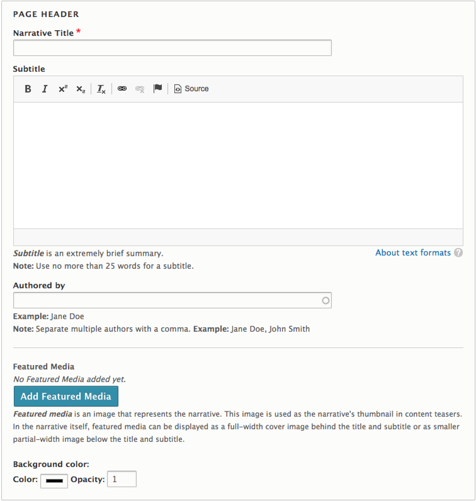 A screenshot of the Page Header section of the narrative content type, showing fields such as Narrative title, byline, etc.