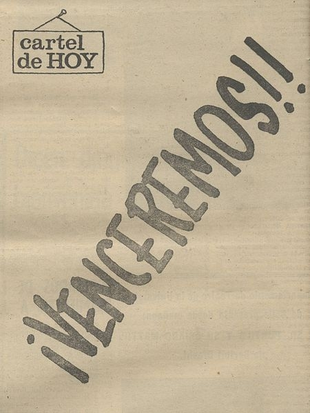 "Newspaper Puro Chile published the words ""¡Venceremos! in their April 9, 1970 paper."