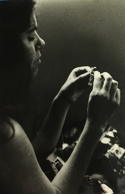 Black and White photo of Marcella Polloni Sewing