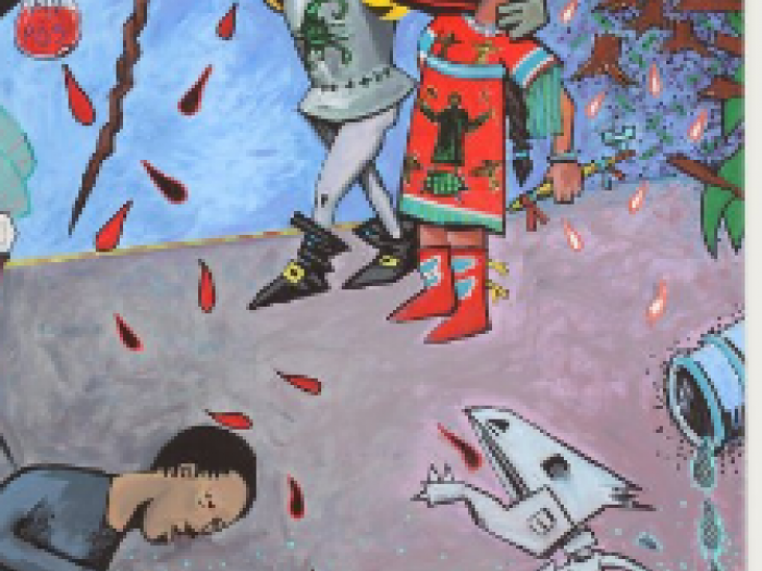 Segment of mural featuring a conquistador and a fisherman