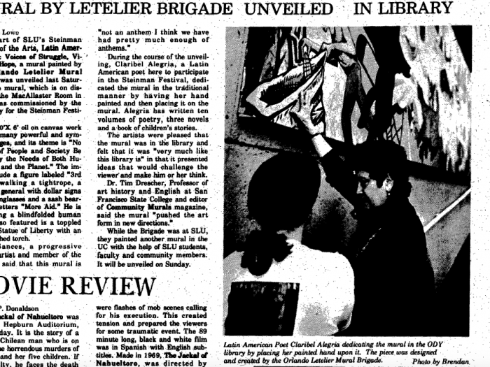A Hill News Article on the first mural by the Orlando Letelier Brigade
