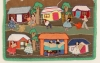 Arpillera depicting daily life in a rural village.